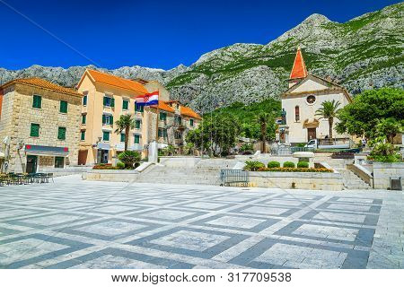 Popular Mediterranean Resort With Beautiful Old City Center. Street Cafees And Catholic Christian Ch