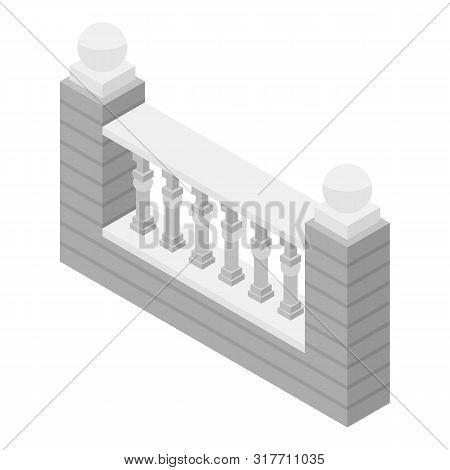 White Stone Fence Icon. Isometric Of White Stone Fence Vector Icon For Web Design Isolated On White
