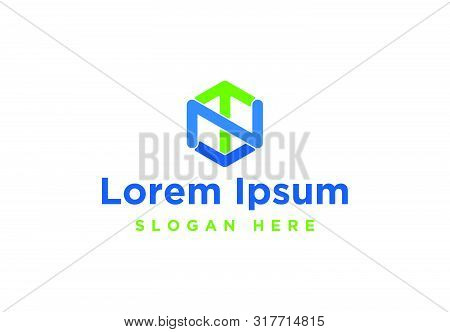 Letter N T Hexagon Logo Inspiration Isolated On White Background