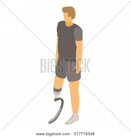 Guy Prosthetic Leg Icon. Isometric Of Guy Prosthetic Leg Vector Icon For Web Design Isolated On Whit