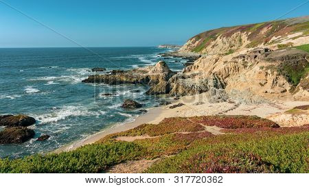 Landscape View Of Bodega Bay Beach In Sonoma County In California, Usa, On A Typical Summer Day In T