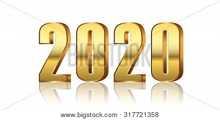 Happy New Year Number 2020. Gold 3d Number 2020 Isolated White Background. Bright Golden Design Gree