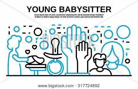 Young Babysitter Banner. Outline Illustration Of Young Babysitter Vector Banner For Web Design