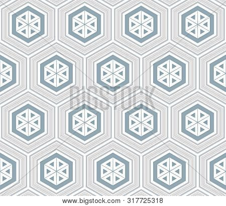 Abstract Hexagons Seamless Pattern. Vector Geometric Pattern Of Many Shapes.