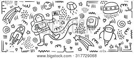 Astronaut Doodle Print. Set Of Space Objects And Symbols. Planets And Ships. Space Doodles. Future C