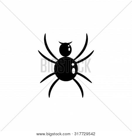 Spider Vector Silhouette Cartoon Icon. Bug Insect.