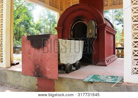 Crematorium With A Cart For The Dead In A Khmer Temple Near The City Of Siem Rip