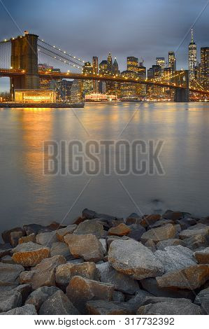 Brooklyn Bridge Taken From Brooklyn Bridge Park At Night.