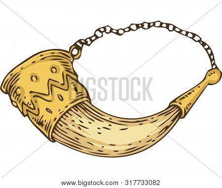 Cornucopia. Drinking Horn With Decoration Isolated On White Background