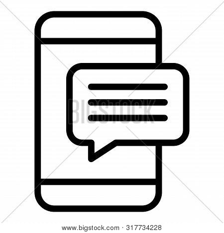 Smartphone Popup Message Icon. Outline Smartphone Popup Message Vector Icon For Web Design Isolated
