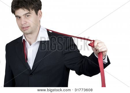 man taking off tie