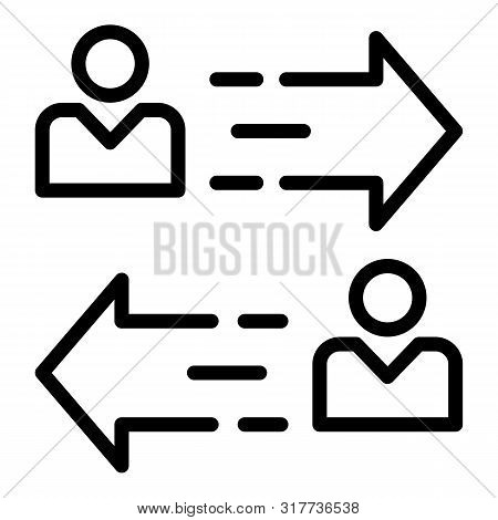 Person To Person Arrow Icon. Outline Person To Person Arrow Vector Icon For Web Design Isolated On W