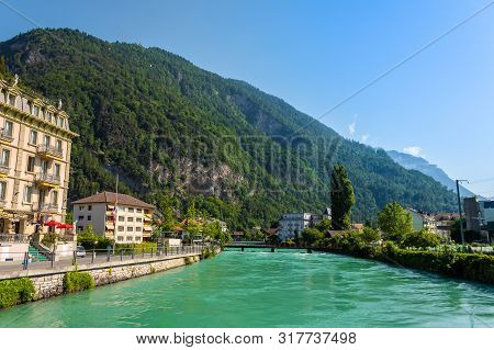 Beautiful Landscape Photo Of River Aare With Turqouise Water In Interlaken, Switzerland
