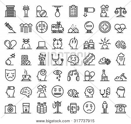 Depression Icons Set. Outline Set Of Depression Vector Icons For Web Design Isolated On White Backgr