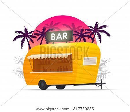Bar Trailer Outdoor. Beach Truck. Beach Bar. Yellow Truck. Vector Illustration.