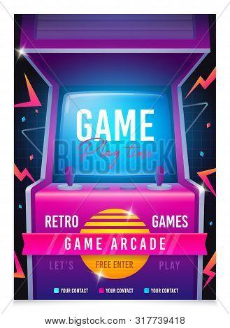 Retro Gaming, Game Of 80s-90s. Arcade Machine. Retro Arcade Game Machine. Play Time Poster, Flyer Te
