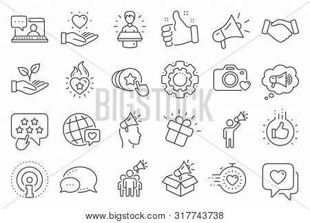 Brand Ambassador Line Icons. Influence People, Megaphone And Representative. Handshake, Influencer M