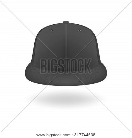 Vector 3d Realistic Render Black Blank Baseball Snapback Cap Icon Closeup Isolated On White Backgrou