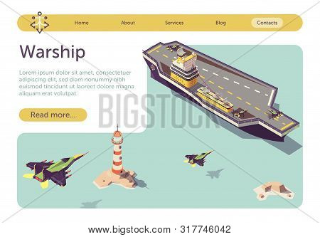 Banner With Warship Floating In Sea And Military Jets Flying To Land On Ship Platform. Isometric Bat