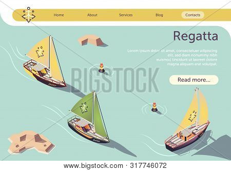 Sea Sailing Regatta Isometric Banner Design With Sail Boat Floating On Sea. Race Sailing Ship Yacht,