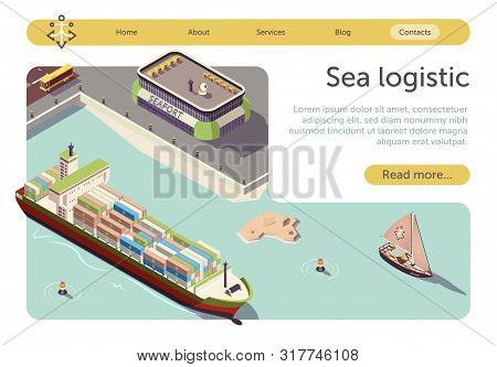 Sea Logistic And Maritime Transportation Isometric Banner. Sea Freight And Shipping. Seaport, Cargo