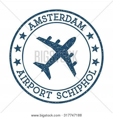 Amsterdam Airport Schiphol Logo. Airport Stamp Vector Illustration. Amsterdam Aerodrome.