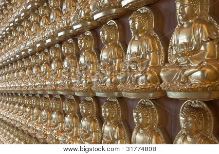 10000 Golden Buddha In Chinese Temple