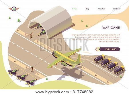 War Game Isometric Banner With Military Airfield, Airport Or Airbase. Vector Jet Fighters, Armored V