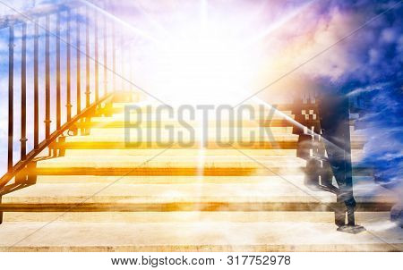 Steps Leading Up To The Sun. Way To God . Bright Light From Heaven . Religious Background . Beautifu