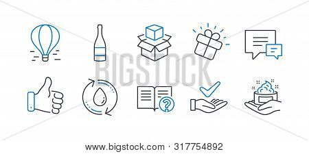 Set Of Business Icons, Such As Refill Water, Like Hand, Champagne Bottle, Comment, Packing Boxes, He