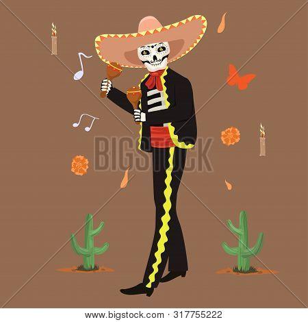 Mexican Musician Skeleton Plays Maracas. Vector Image