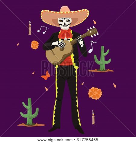 Mexican Musician Skeleton Plays The Guitar. Vector Image.