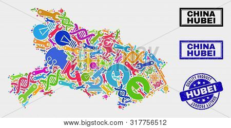 Vector Collage Of Service Hubei Province Map And Blue Seal For Quality Product. Hubei Province Map C