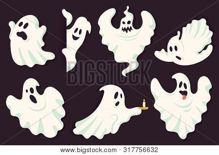 Funny Ghost Character Collection In Different Poses. White Flying Spooky Halloween Ghost Silhouette
