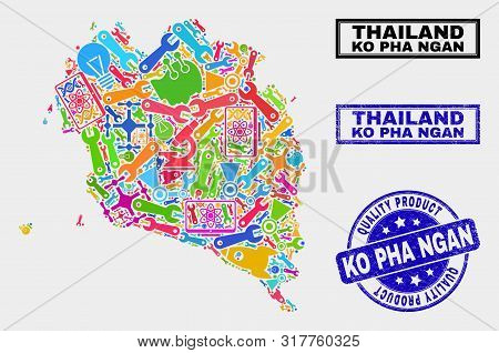 Vector Collage Of Service Ko Pha Ngan Map And Blue Seal Stamp For Quality Product. Ko Pha Ngan Map C