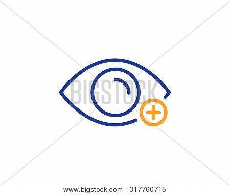 Eye Diopter Sign. Farsightedness Line Icon. Optometry Vision Symbol. Colorful Outline Concept. Blue