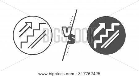 Shopping Stairway Sign. Versus Concept. Stairs Line Icon. Entrance Or Exit Symbol. Line Vs Classic S