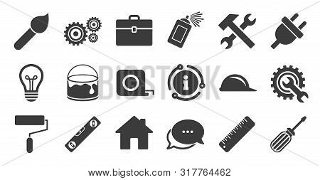 Set Of Construction Tools, Engineering And Repair Icons. Information, Chat Bubble Icon. Electric Plu