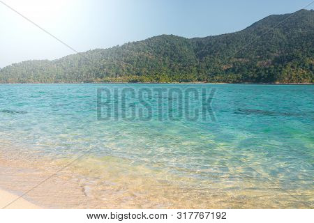 Summer Concept ,soft Wave Lapped The Sandy Beach Koh Lipe Beach Thailand ,summer Vacation