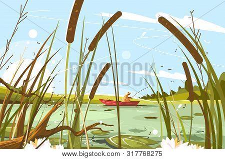 Fisherman Fishing In Pond Vector Illustration. Man