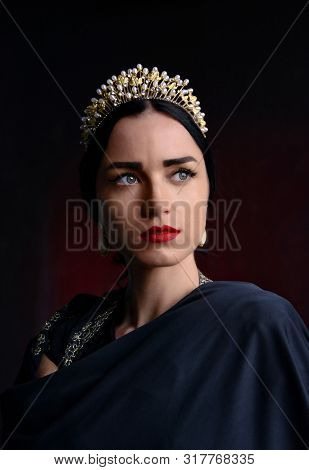 Queen. Beautiful Woman In A Tiara. Power. Reign. Fantasy. Mysterious Lady With Gorgeous Look In A Bl
