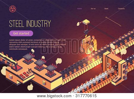 Steel Industry Banner With Iron Smelting Conveyor. Metallurgy Process And Metal Parts Production. Ve