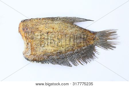 Fried Trichogaster Pectoralis, Fried Salid Fish Thai Food, Isolated