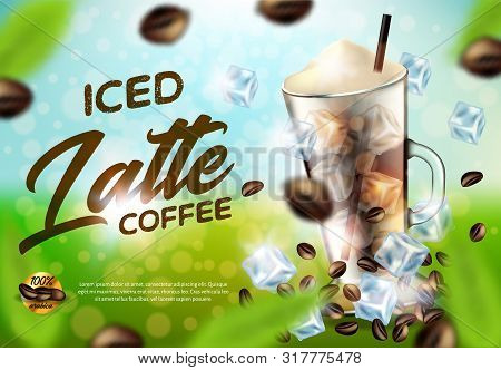 Iced Arabica Coffee Latte Promo Ad Banner, Drink Glass With Handle, Cold Brown Beverage With Ice Cub