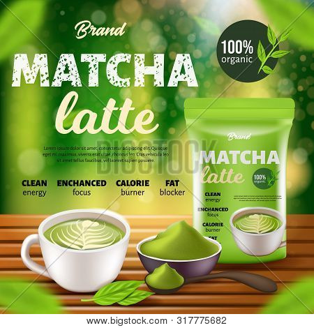 Matcha Latte Coffee Promo Banner, Paper Or Foil Sachet Pouch Doy Pack, Cup With Drink On Wooden Tabl