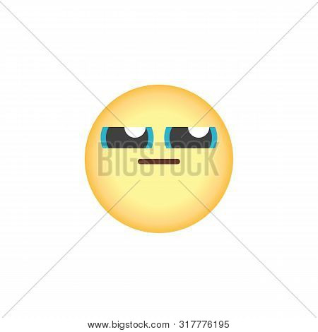 Sly Face Emoticon Flat Icon, Vector Sign, Expressionless Face Emoji Colorful Pictogram Isolated On W