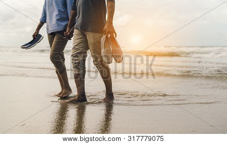 Couple Senior Elder Retire Resting Relax Walking At Sunset Beach Honeymoon Family Together Happiness