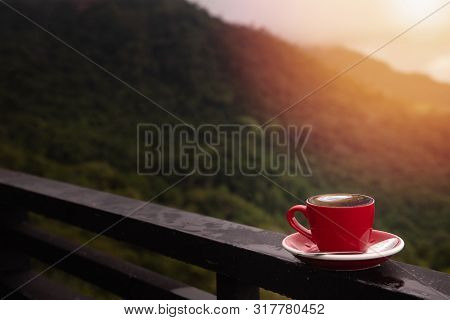 Morning Latte Coffee Cup With Mountain Background, Coffee Break.
