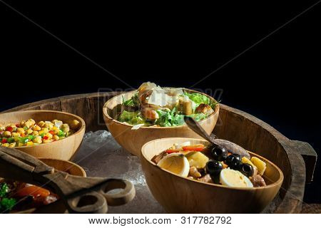 Salad In Bowl  On Buffet Line For Dinner Party..