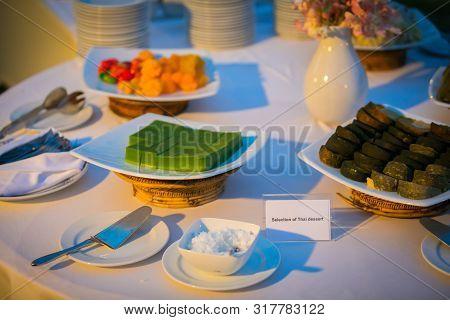 Table Setting Dinner  On  Beach In Thailand